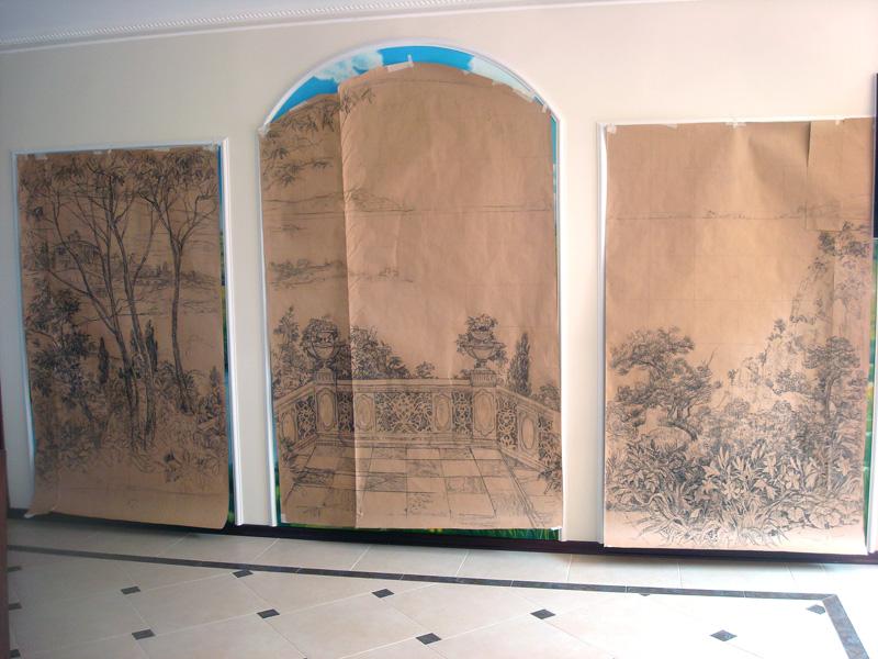 эскизы для росписи стен: